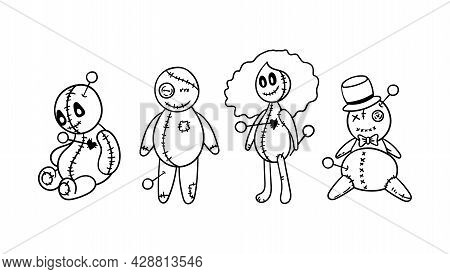 Halloween Creepy Voodoo Doll Isolated Clipart Set, Black Magic Outline Dolls, Spooky Voodoo Girl And
