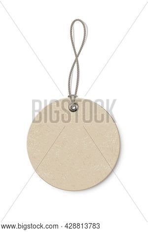 Blank Beige Round Paper Price Tag Isolated On Transparent Background. Circle Shape Label With Ropes.