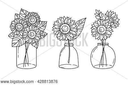 Sunflowers And Mason Jar Isolated Clipart, Black And White Floral Decorative Elements, Line Wildflow