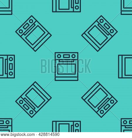 Black Line Oven Icon Isolated Seamless Pattern On Green Background. Stove Gas Oven Sign. Vector
