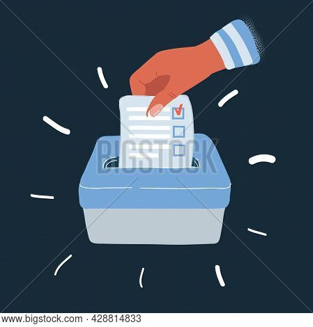 Vector Illustration Of Voting Concept In Hand Putting Paper In The Ballot Box Over Dark Backround.