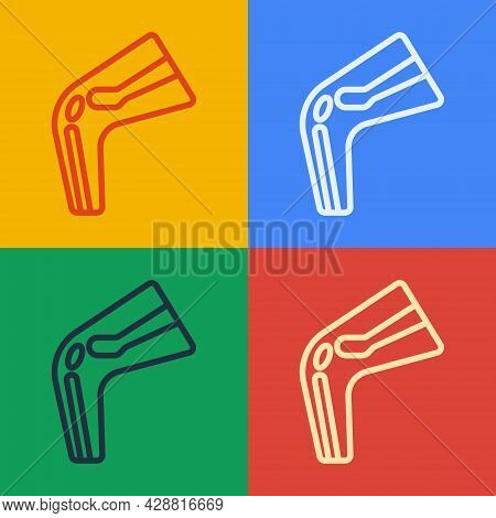 Pop Art Line Bone Pain Icon Isolated On Color Background. Orthopedic Medical. Disease Of The Joints