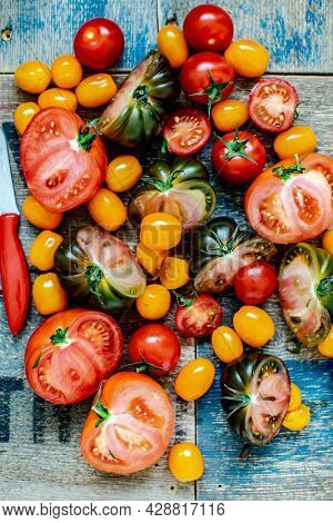 Various fresh tomatoes aerial view