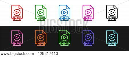 Set Line Mp4 File Document. Download Mp4 Button Icon Isolated On Black And White Background. Mp4 Fil