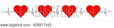 Line Of Electrocardiogram With The Image Of A Red Heart. Vector Illustration.