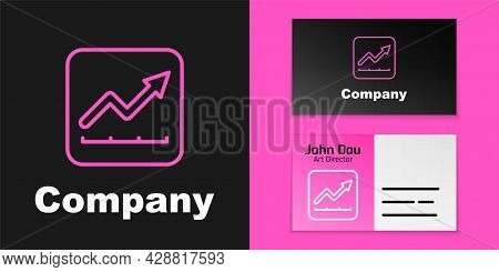 Pink Line Financial Growth Increase Icon Isolated On Black Background. Increasing Revenue. Logo Desi