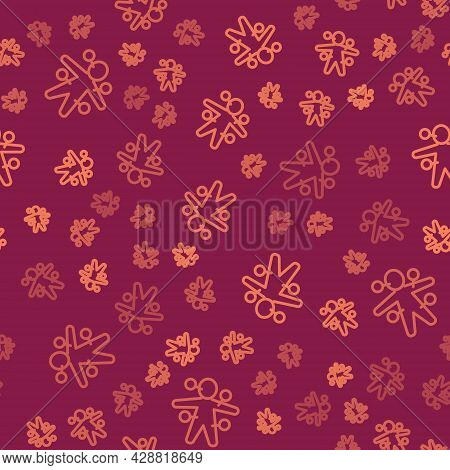 Brown Line Voodoo Doll Icon Isolated Seamless Pattern On Red Background. Vector