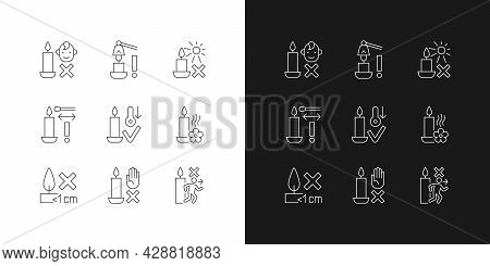 Candle Safety Precautions Linear Manual Label Icons Set For Dark And Light Mode. Customizable Thin L