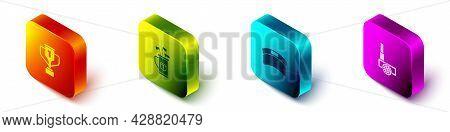 Set Isometric Award Cup With Golf, Golf Bag Clubs, Sun Visor Cap And Ball Icon. Vector