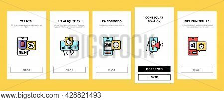 Ephemeral Content Onboarding Mobile App Page Screen Vector. Social Media Story And Photography, File
