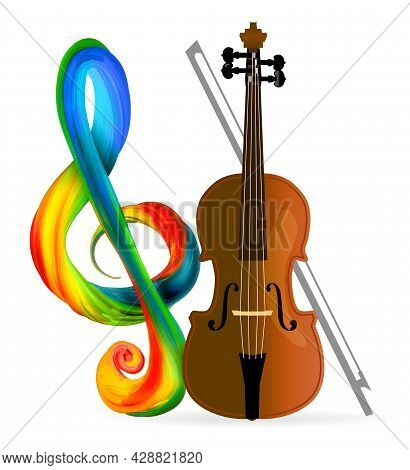 Violin Or Cello With Treble Clef. Vector Illustration On White Background.