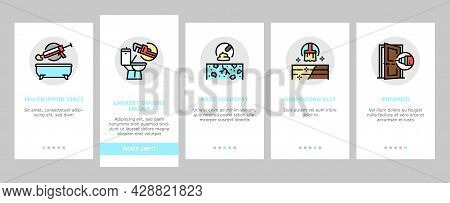 Home Repair Occupation Onboarding Mobile App Page Screen Vector. Sink And Bath, Garage Door And Furn