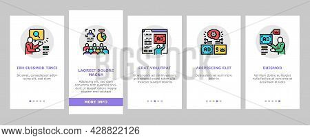 Programmatic Advertising Service Onboarding Mobile App Page Screen Vector. Audience Programmatic Adv