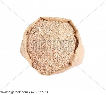 Wheat Bran In Bag On White Background, Top View