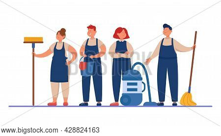 Male And Female Cleaning Staff With Mops And Vacuum Cleaner. Team Of Cartoon Persons In Uniform Flat