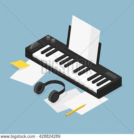 Vector Isometric Music Production Illustration. Music Production Equipment - Piano With Headphones A