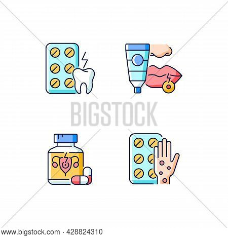 Disease Treatment Rgb Color Icons Set. Relieve Toothaches. Antiviral Ointment. Pills For Period Cram