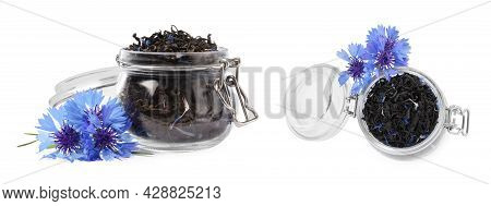 Dried Cornflower Tea And Fresh Flowers On White Background, Collage. Banner Design
