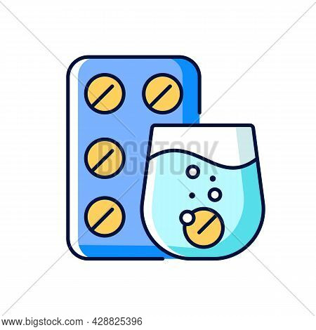 Effervescent Tablet For Cold Relief Rgb Color Icon. Cough-and-cold Medication. Dissolve In Liquid. R