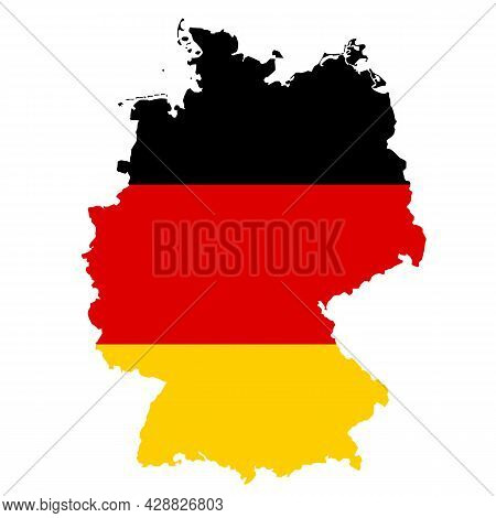 Map And Flag Of Germany On White Background. Germany Flag Map Symbol. Germany Map Sign. Flat Style.