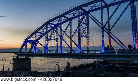 Bridge Museum . Span Of The The Historic Railway Bridge Across The Amur River. Project By Lavr Prosk