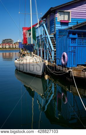 Colorful Fisherman's Wharf Victoria. Houseboat Village Next To Fisherman's Wharf On The Inner Harbor