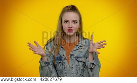 Dissatisfied Teen Student Girl 20s Years Old Asking Reason Of Failure, Expressing Disbelief Irritati