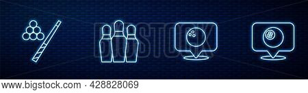 Set Line Location With Bowling Ball, Billiard Cue And, Bowling Pin And Billiard. Glowing Neon Icon O