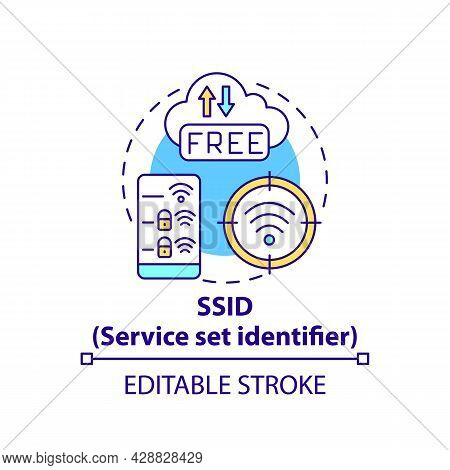 Service Set Identifier Concept Icon. Network Unique Name Abstract Idea Thin Line Illustration. Indep