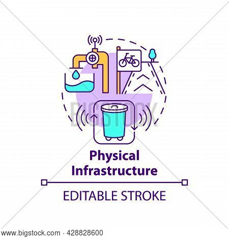 Physical Infrastructure Concept Icon. Physical Public Facilities Abstract Idea Thin Line Illustratio
