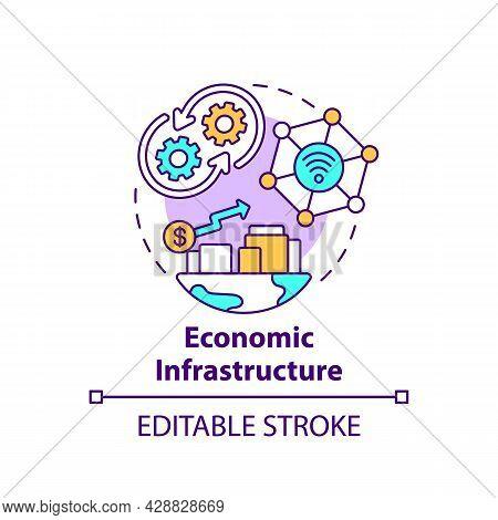 Economic Infrastructure Concept Icon. Economic Growth Abstract Idea Thin Line Illustration. Economy