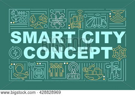 Smart Urban Area Word Concepts Banner. Intelligent Management Of City. Infographics With Linear Icon
