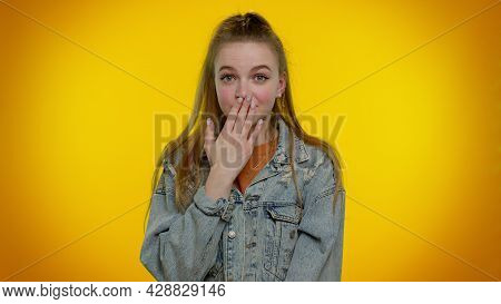 I Will Not Say Anyone. Frightened Sincere Girl Closing Her Mouth With Hand, Looking Intimidated Scar