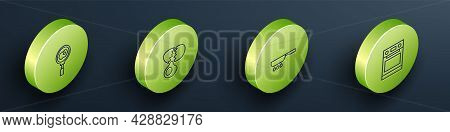Set Isometric Line Fried Eggs On Frying Pan, Broken, Frying And Oven Icon. Vector
