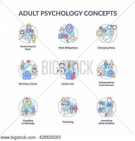 Adult Psychology Concept Icons Set. Independence From Parents. Parenting. Career Loss. Maturity Prob