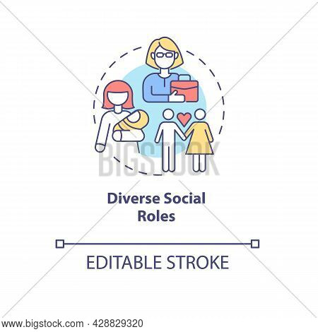 Diverse Social Roles Concept Icon. Lifeway Choice And Self-determination. Parenting And Careering Ab