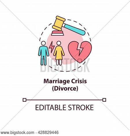 Marriage Crisis Concept Icon. Troubles In Relationship. Family Breakup. Differing Personalities. Div