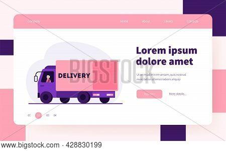Senior Driver Sitting In Truck. Lorry, Road, Transportation Flat Vector Illustration. Delivery Servi