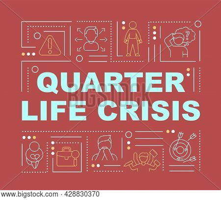 Quarter Life Crisis Signs Word Concepts Banner. Choosing Life Direction. Infographics With Linear Ic