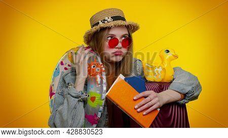Tired Boring Upset Traveler Tourist Teen Stylish Girl Holding Suitcase, Tickets Waiting For Flight O