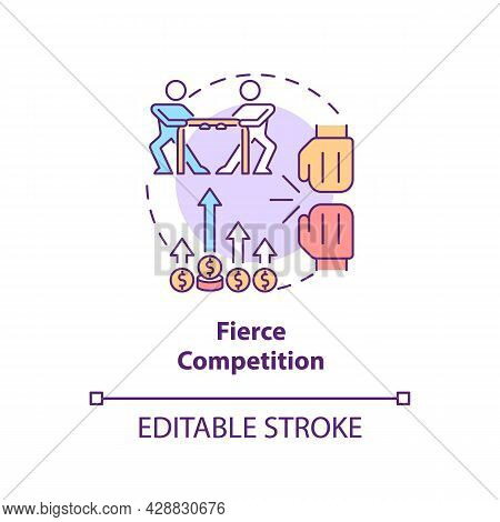 Fierce Competition Concept Icon. Market Rivalry Between Businesses. Startup Launch Challenges Abstra