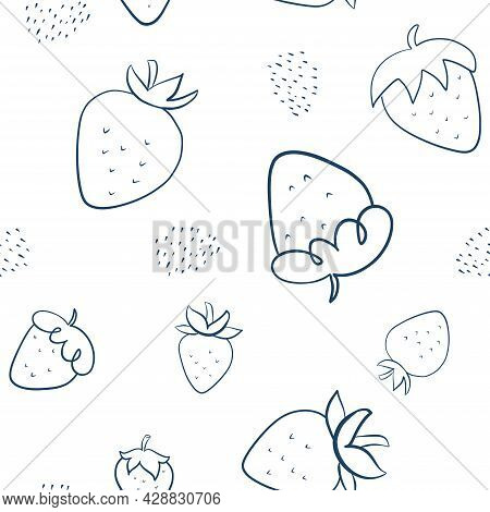 Line Art Doodle Strawberries Seamless Pattern. Light Strawberries Background For Menu Or Packaging D