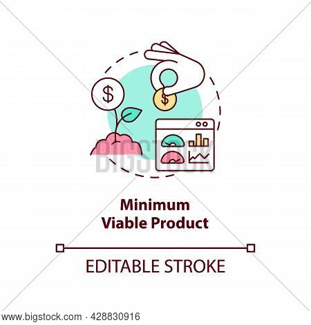 Minimum Viable Product Concept Icon. Early Business Development. Investment In Company. Startup Laun