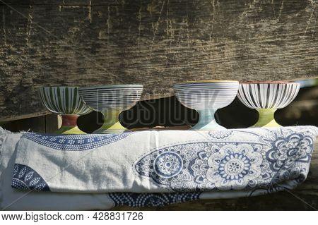 Ceramic Cups On Sacred Altar Alchemical Symbol