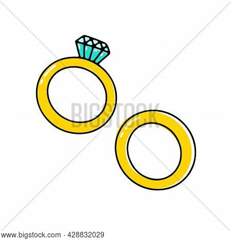 Doodle Diamond Ring. Hand-drawn Brilliant Jewelry With Gemstone On White Background. Gold Bridal Rin