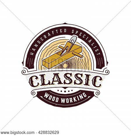 Illustration Vintage Badge Wood Working With Wood Shaver Logo Template