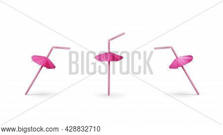 Set Of Realistic Pink Drinking Straws With Cocktail Umbrella Isolated On White Background