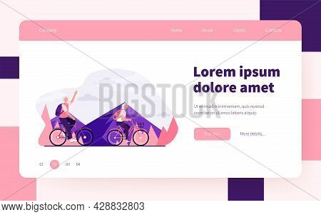 Senior Couple Riding Bikes Outdoors. Old Man And Woman Cycling In Mountains Flat Vector Illustration