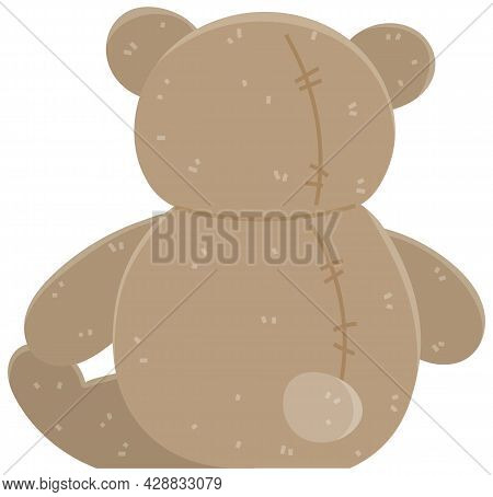 Brown Bear Children S Soft Toy Back View. Teddy Bear Icon. Plaything Vector Flat Illustration Isolat