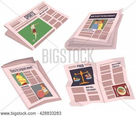 Collection Of Newspapers Isolated On White Background. Bundle Of Periodical Publications Of Various